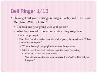 Bell Ringer 1/13