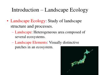 Introduction   Landscape Ecology