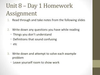Unit 8 – Day 1 Homework Assignment