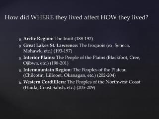 How did WHERE they lived affect HOW they lived?