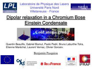 Dipolar relaxation in a Chromium Bose Einstein Condensate