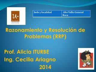 Razonamiento y Resolución de Problemas (RRP) Prof. Alicia ITURBE  Ing. Cecilia Ariagno 2014