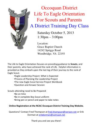 Occoquan District Life To Eagle Orientation For Scouts and Parents A District Training Day Class