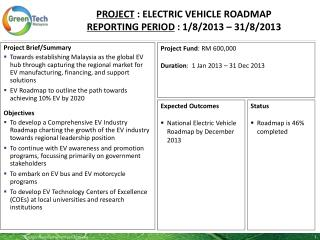 PROJECT : ELECTRIC VEHICLE ROADMAP REPORTING PERIOD  :  1/8/2013  –  31/8/2013