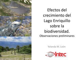 Efectos del crecimiento del Lago Enriquillo  sobre la biodiversidad.  Observaciones  preliminares