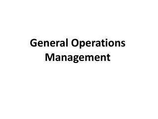 General Operations Management
