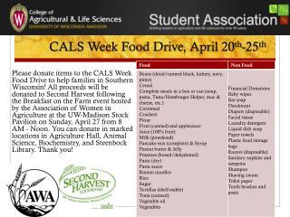 CALS Week Food Drive, April 20 th - 25 th