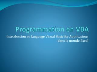Programmation  en VBA