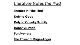 "Themes in ""The Iliad"" Duty to Gods Duty to Country/Family Honor vs. Pride Forgiveness"