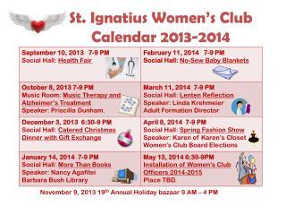 St. Ignatius Women's Club Calendar 2013-2014