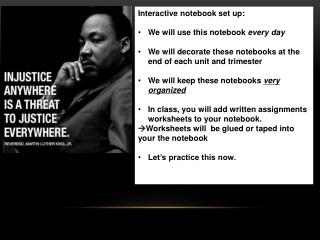 Interactive notebook set up: We will use this notebook  every day