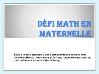 Défi math en maternelle
