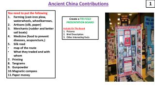 Ancient China Contributions
