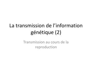 La transmission de l'information génétique (2)