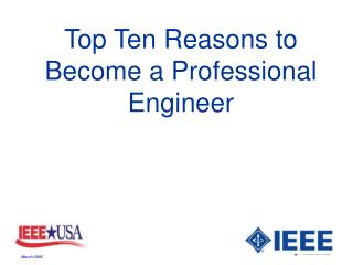 Top Ten Reasons to Become a Professional Engineer