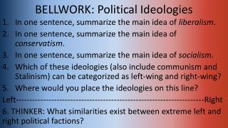 BELLWORK: Political Ideologies