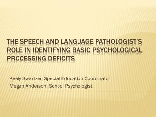 The Speech and Language Pathologist's role in identifying Basic Psychological Processing deficits