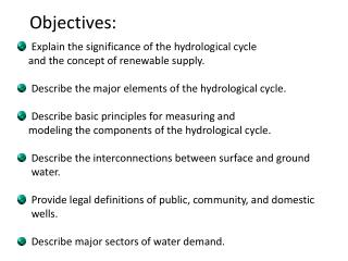Explain the significance of the hydrological cycle     and the concept of renewable supply.