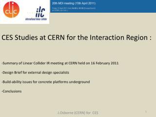 J.Osborne (CERN) for  CES