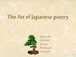 The Art of Japanese poetry