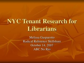 NYC Tenant Research for Librarians