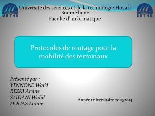 Université des sciences et de la technologie Houari Boumediene Faculté d' informatique