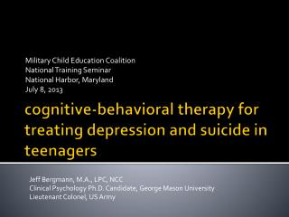 cognitive-behavioral therapy for treating depression and suicide in teenagers
