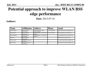 Potential approach to improve WLAN BSS edge performance