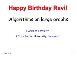 Algorithms on large graphs