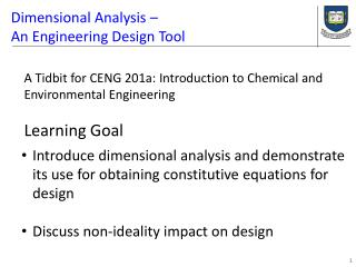 Dimensional Analysis � An Engineering Design Tool