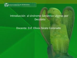 Introducción  al síndrome Geriátrico Ulceras por Decúbito Docente:  Enf .  Olivia Zárate Coronado