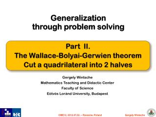 Generalization through problem solving