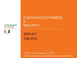 CONTINUOUS DYNAMICS & SECURITY