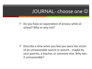 JOURNAL- choose one  