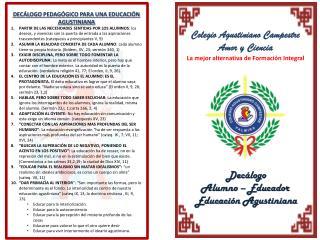 Colegio Agustiniano Campestre Amor y Ciencia La mejor alternativa de Formación Integral