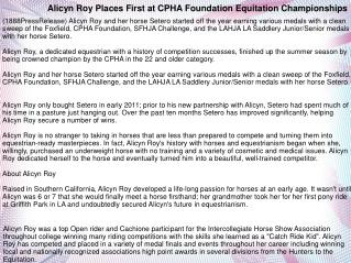 Alicyn Roy Places First at CPHA Foundation Equitation Champi