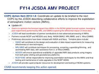 FY14 JCSDA AMV PROJECT