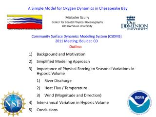 A Simple Model for Oxygen Dynamics in Chesapeake Bay