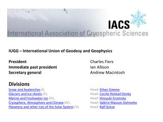 IUGG – International Union  of Geodesy  and  Geophysics President 				 Charles Fierz