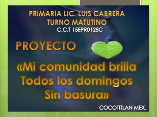 PRIMARIA LIC. LUIS CABRERA TURNO MATUTINO