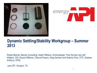 Dynamic Settling/Stability Workgroup – Summer 2013