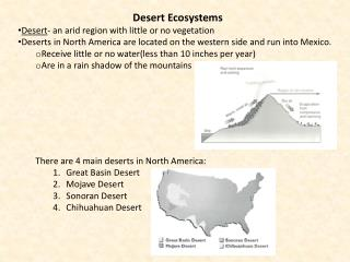Desert Ecosystems Desert - an arid region with little or no vegetation