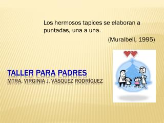 Taller para padres Mtra. Virginia J. Vásquez Rodríguez