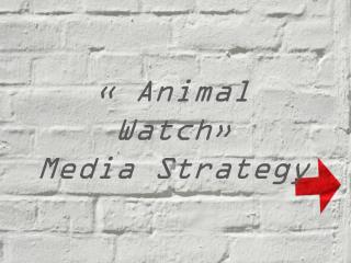 � Animal Watch�  Media Strategy