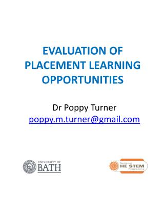 EVALUATION OF PLACEMENT LEARNING OPPORTUNITIES