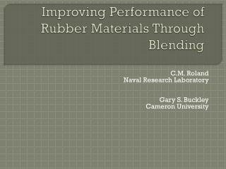 Improving Performance of Rubber Materials Through Blending