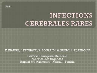 INFECTIONS CÉRÉBRALES  RARES