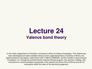Lecture 24 Valence bond theory