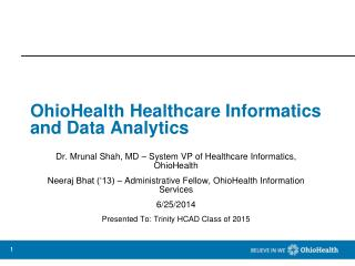 OhioHealth Healthcare Informatics and Data Analytics
