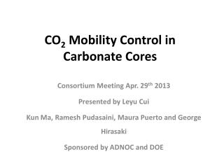 CO 2  Mobility Control in Carbonate Cores